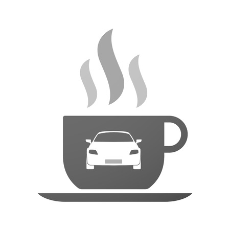 Illustration of an isolated cup of coffee with a car