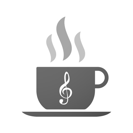 Illustration of an isolated cup of coffee with a g clef