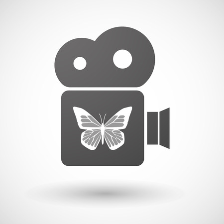 butterfly isolated: Illustration of an isolated cinema camera icon with a butterfly