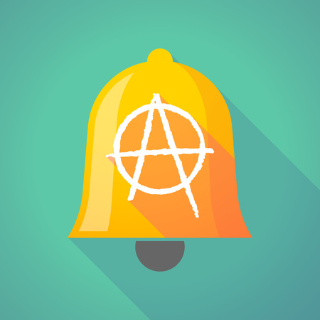 social movement: Illustration of a long shadow bell with an anarchy sign Illustration