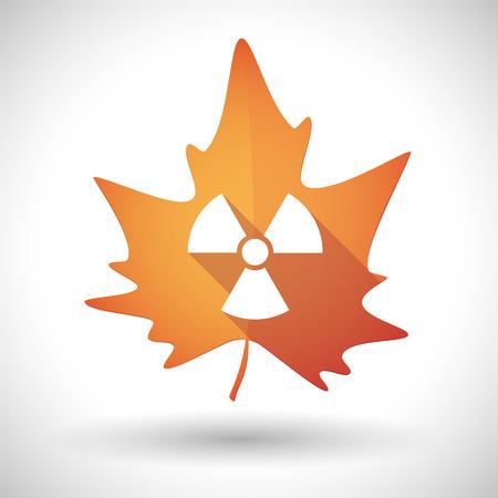 radio activity: Illustration of an isolated autumn leaf icon with a radio activity sign