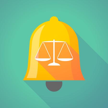 justiz: Illustration eines langen Schatten Glocke mit einem Gewicht Gerechtigkeit Skala Zeichen
