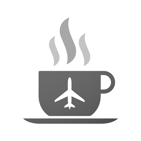 Illustration of an isolated cup of coffee with a plane Illustration