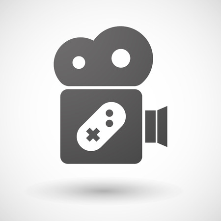 game pad: Illustration of an isolated cinema camera icon with a game pad