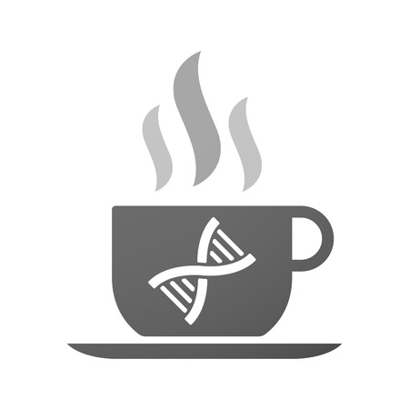 transgenic: Illustration of an isolated cup of coffee with a DNA sign