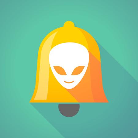 alien face: Illustration of a long shadow bell with an alien face Illustration