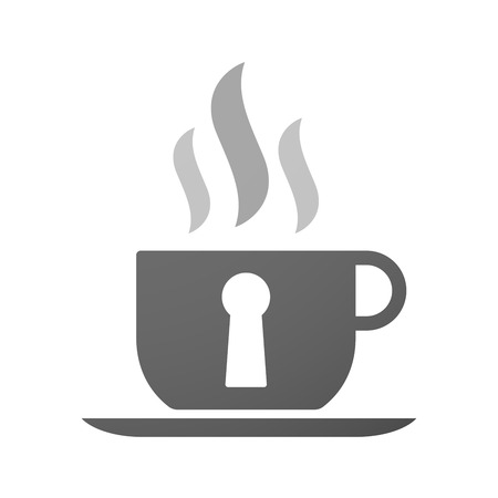 key hole: Illustration of an isolated cup of coffee with a key hole