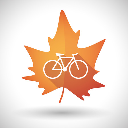 Illustration of an isolated autumn leaf icon with a bicycle