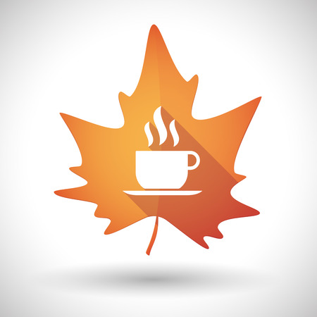 coffee leaf: Illustration of an isolated autumn leaf icon with a cup of coffee