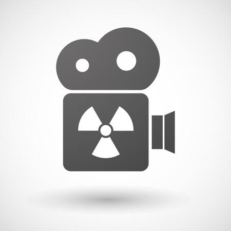 radio activity: Illustration of an isolated cinema camera icon with a radio activity sign