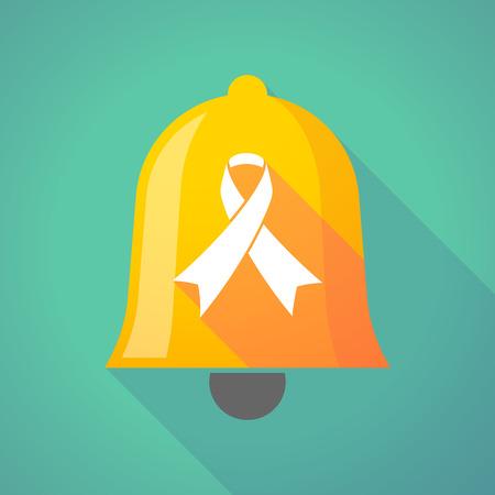 alert ribbon: Illustration of a long shadow bell with an awareness ribbon