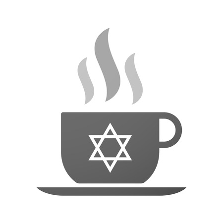 david brown: Illustration of an isolated cup of coffee with a David star