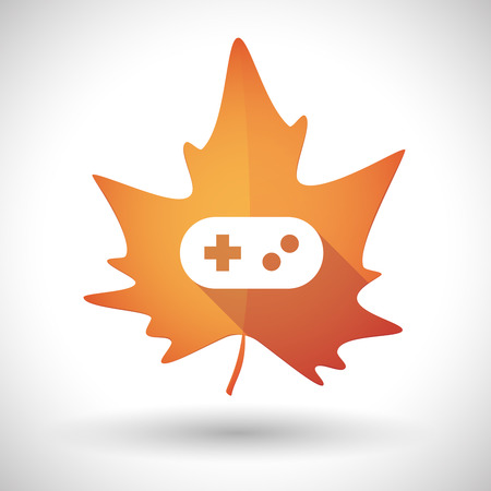 game pad: Illustration of an isolated autumn leaf icon with a game pad