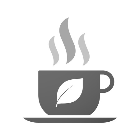 coffee leaf: Illustration of an isolated cup of coffee with a leaf Illustration