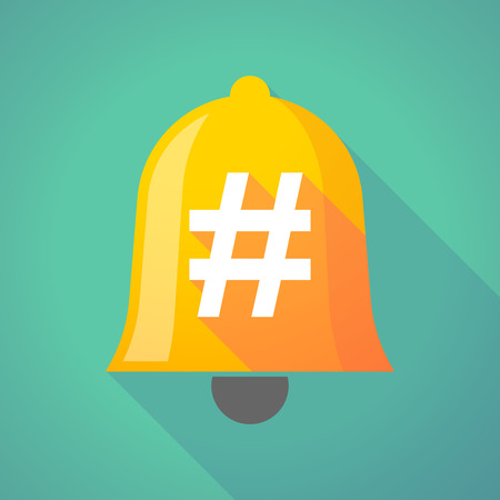 hash: Illustration of a long shadow bell with a hash tag Illustration