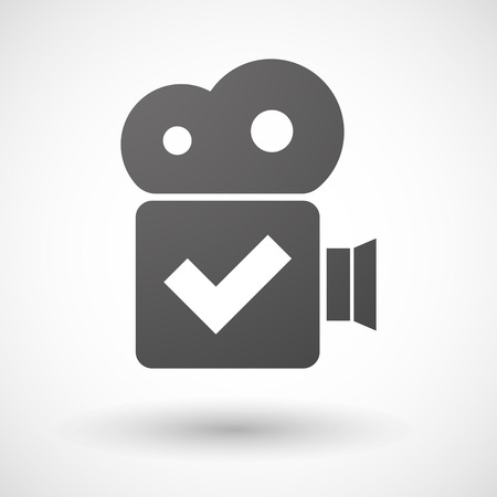 Illustration of an isolated cinema camera icon with a check mark Illustration