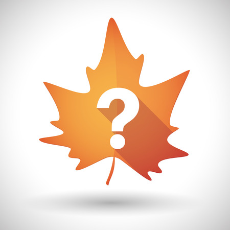interrogation mark: Illustration of an isolated autumn leaf icon with a question sign Illustration