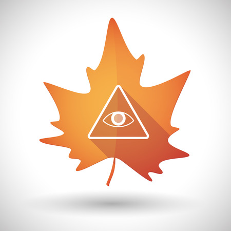 all seeing: Illustration of an isolated autumn leaf icon with an all seeing eye