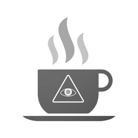 all seeing eye: Illustration of an isolated cup of coffee with an all seeing eye