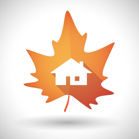 Illustration of an isolated autumn leaf icon with a house