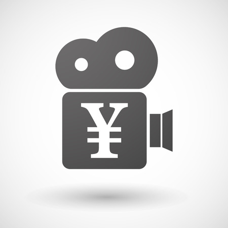 yen sign: Illustration of an isolated cinema camera icon with a yen sign