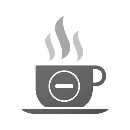 subtraction: Illustration of an isolated cup of coffee with a subtraction sign