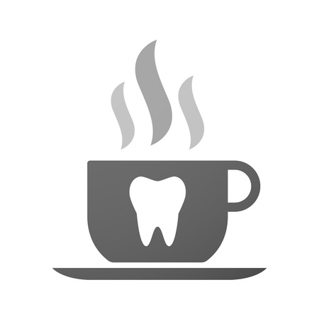 food hygiene: Illustration of an isolated cup of coffee with a tooth Illustration