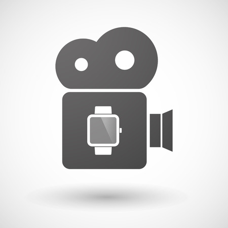 watch movement: Illustration of an isolated cinema camera icon with a smart watch