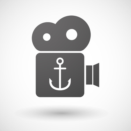 nautic: Illustration of an isolated cinema camera icon with an anchor
