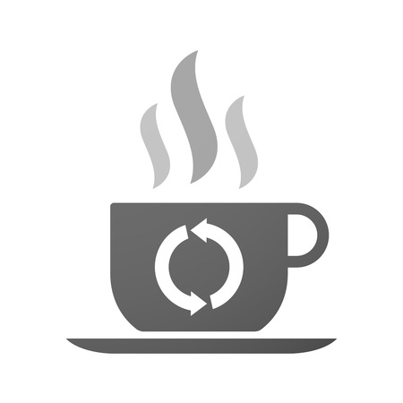 coffe tree: Illustration of an isolated cup of coffee with a recycle sign