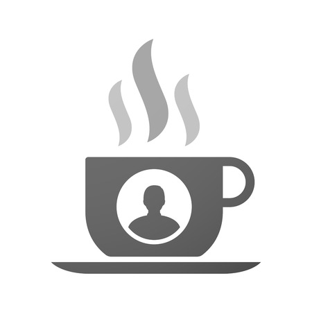 internet user: Illustration of an isolated cup of coffee with a male avatar Illustration