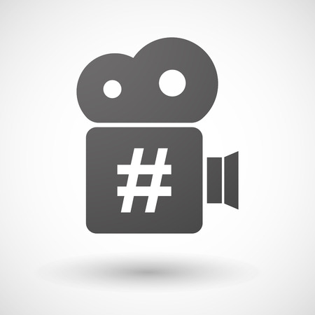 hash: Illustration of an isolated cinema camera icon with a hash tag Illustration