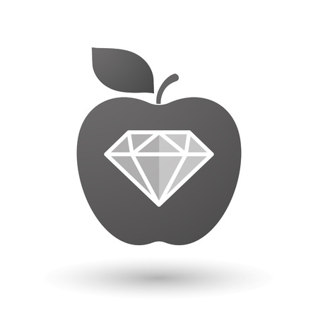 expensive food: Illustration of an isolated apple with a diamond Illustration