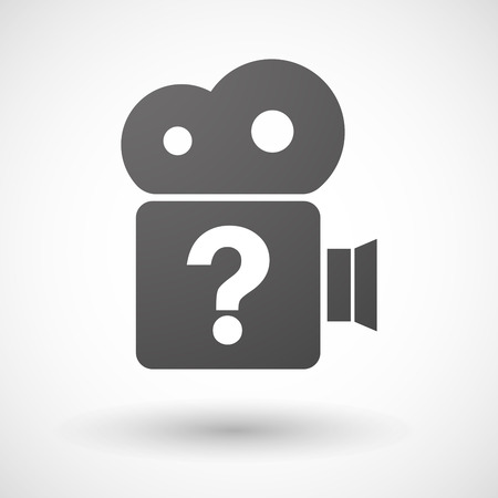 interrogation: Illustration of an isolated cinema camera icon with a question sign