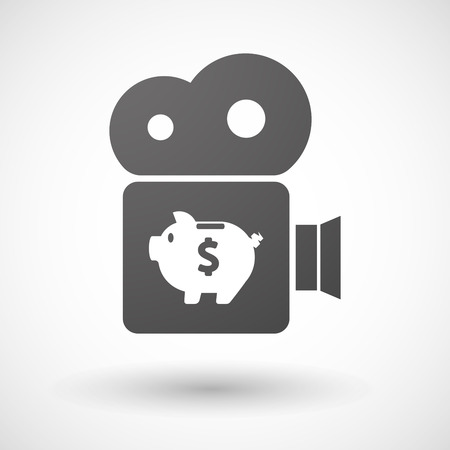 bank records: Illustration of an isolated cinema camera icon with a piggy bank