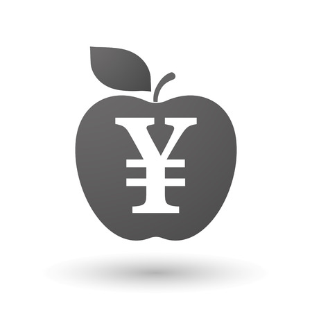 yen sign: Illustration of an isolated apple with a yen sign