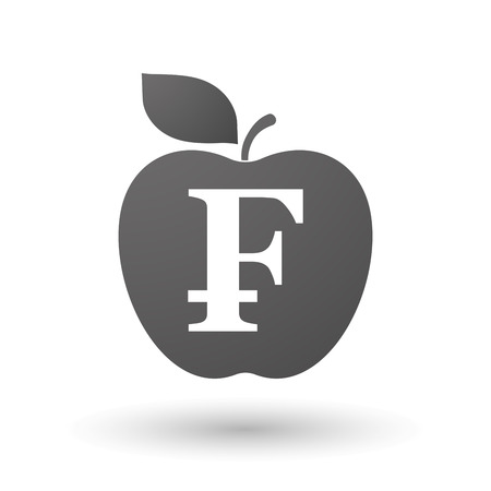 franc: Illustration of an isolated apple with a swiss franc sign