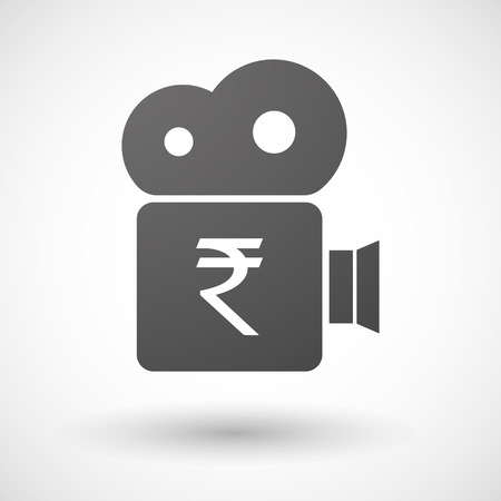 bank records: Illustration of an isolated cinema camera icon with a rupee sign