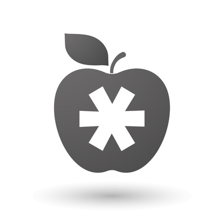asterisk: Illustration of an isolated apple with an asterisk