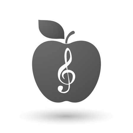 g clef: Illustration of an isolated apple with a g clef