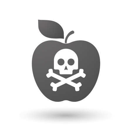 food poison: Illustration of an isolated apple with a skull