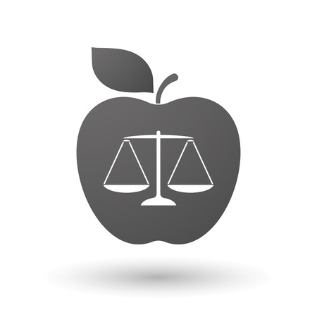 tribunal: Illustration of an isolated apple with a justice weight scale sign Illustration