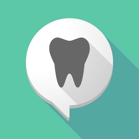 comunicacion oral: Ilustraci�n de un globo de c�mic larga sombra con un diente