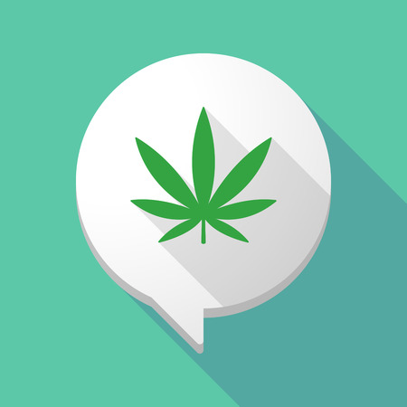 marihuana: Illustration of a long shadow comic balloon with a marijuana leaf Vettoriali