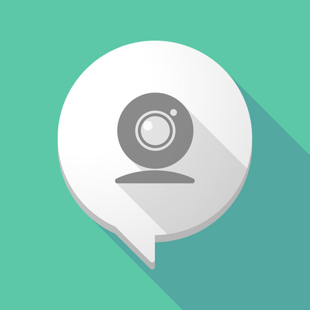 chat icon: Illistration of a long shadow comic balloon with a web cam Illustration