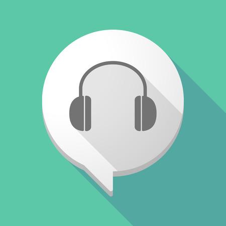 ear phones: Illistration of a long shadow comic balloon with a earphones Illustration