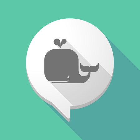 cute graphic: Illistration of a long shadow comic balloon with a whale