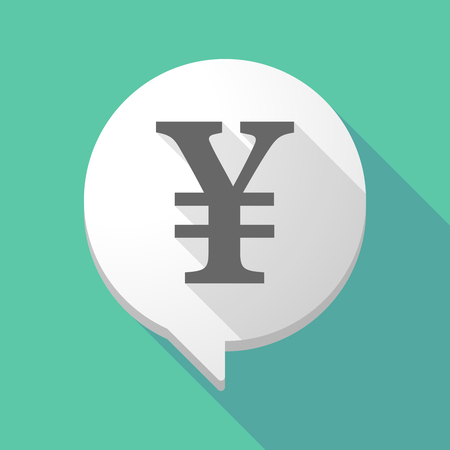 yen sign: Illustration of a long shadow comic balloon with a yen sign
