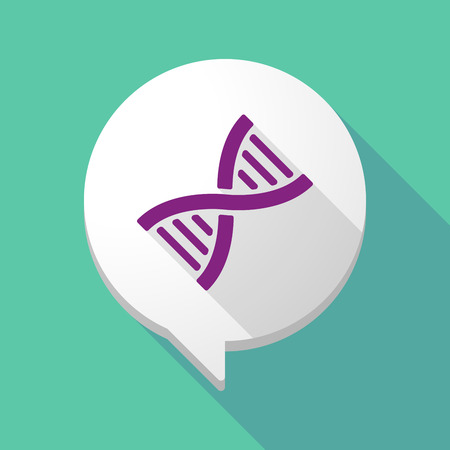 transgenic: Illustration of a long shadow comic balloon with a DNA sign