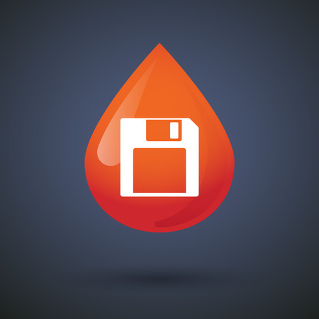 donation drive: Illustration of a blood drop icon with a floppy disk